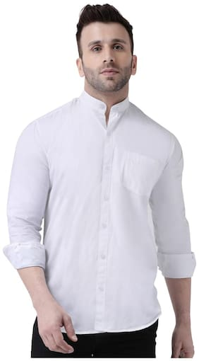 DEZANO Men White Solid Regular Fit Casual Shirt