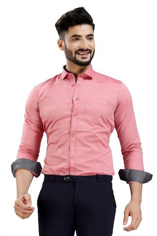 DEZANO Men Red Solid Regular Fit Casual Shirt