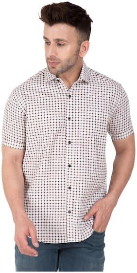 Dezano Mens Checkred Half Sleeve Casual Shirt- Brown