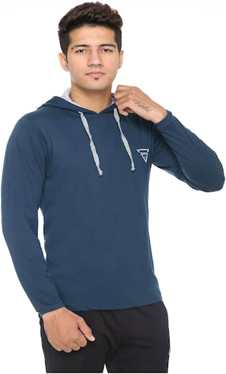 DFH Men Poly cotton Hoodie - Blue