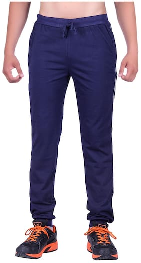 DFH Men Poly Cotton Track Pants - Blue