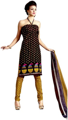 DFOLKS Brown Cotton Dress Material