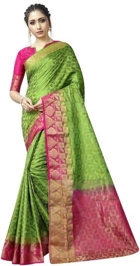 Dhandai Fashion Green Pink Silk Printed Zari Work jacquard design Party Wear Designer Saree With Blouse Piece