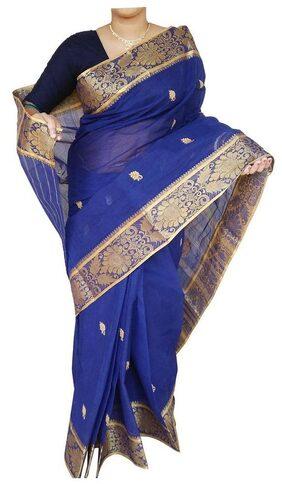 Dhaniakhali Tant pure cotton Blue Handloom Designer saree