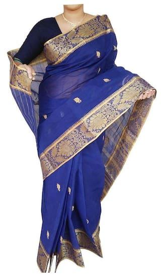 DHANIAKHALI TANT Cotton Bengal tant Zari work Saree - Blue , With blouse
