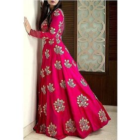 DHARMEE Pink Bangalore Silk Anarkali Gown Semi-Stitched Suit