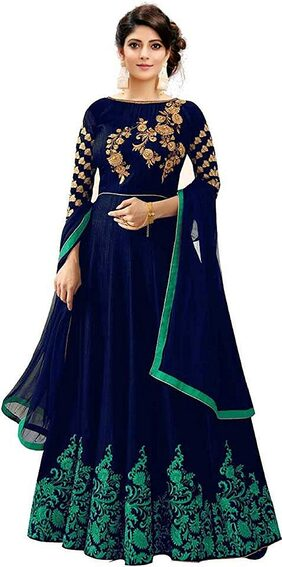 Dharmee Women's Heavy Embroidered Semi Stitched Anarkali Gown