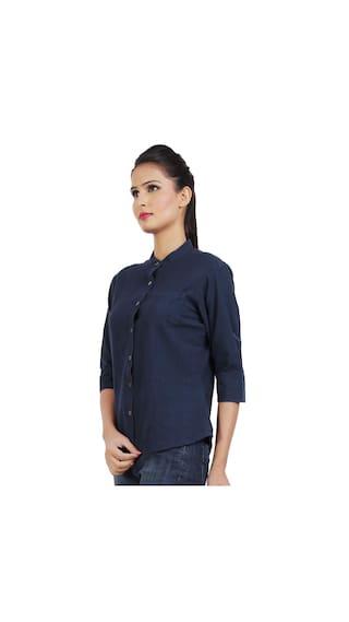 Blue Plain Classy Cotton Dhrohar Navy Shirt 5qAwZ