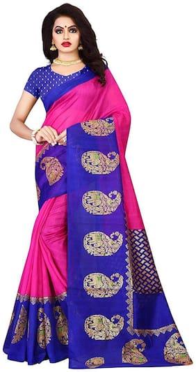 Dhruvi Trendz Women's Cotton Silk Saree With Blouse Piece Material