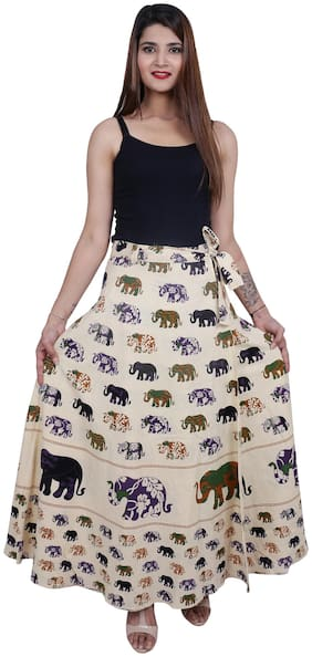 Dhruvi Animal Print Wrap Skirt Maxi Skirt - Purple