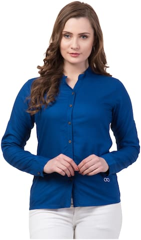 Dibiya Women Blue Solid Regular Fit Shirt