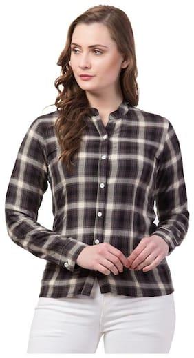 Dibiya Women Brown Checked Regular Fit Shirt