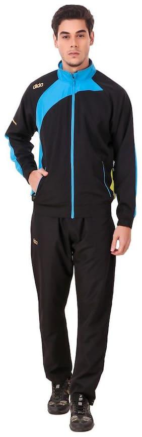 Dida Men Black Solid Slim Fit Track Suit