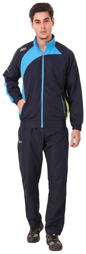Dida Men Blue Solid Slim Fit Track Suit