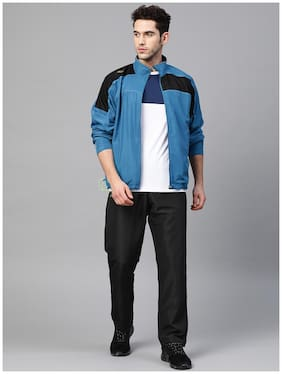 Dida Men Polyester Colorblocked Blue  Track Suit