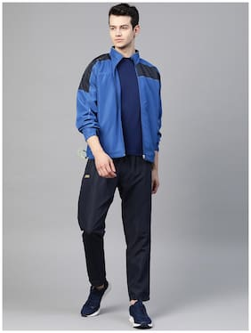 Dida Men Polyester Colorblockd Blue  Track Suit