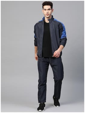 Dida Men Polyester Colorblockd Navy Blue  Track Suit