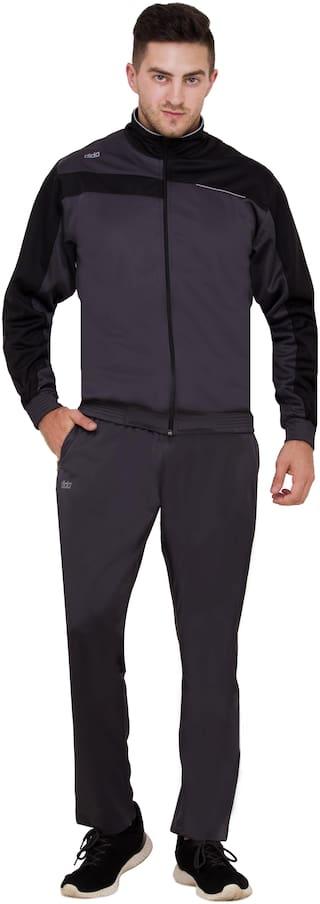 Dida Men Grey Solid Regular Fit Track Suit