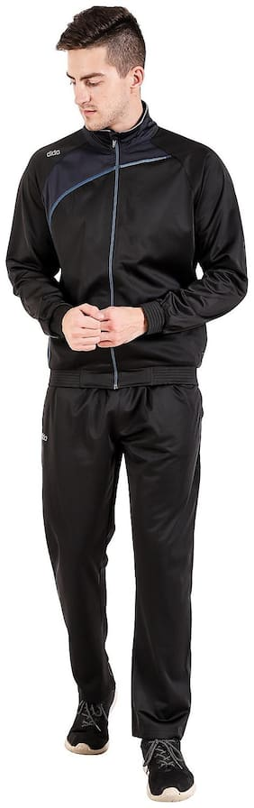 Dida Men Black Solid Regular Fit Track Suit