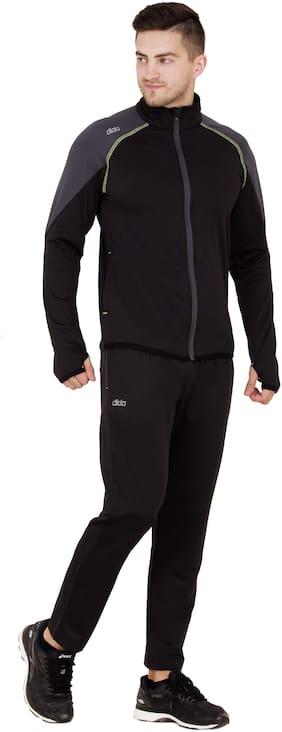 Dida Men Black Solid Regular Fit Track Suit