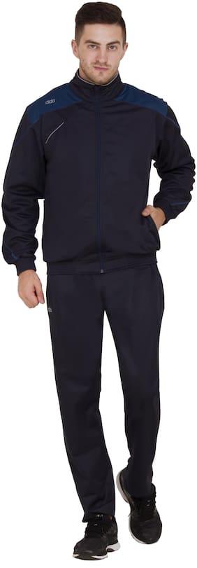 Dida Men Navy Blue Solid Regular Fit Track Suit