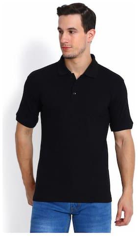 DIDRISHA Men Black Regular Fit Polo T Shirt