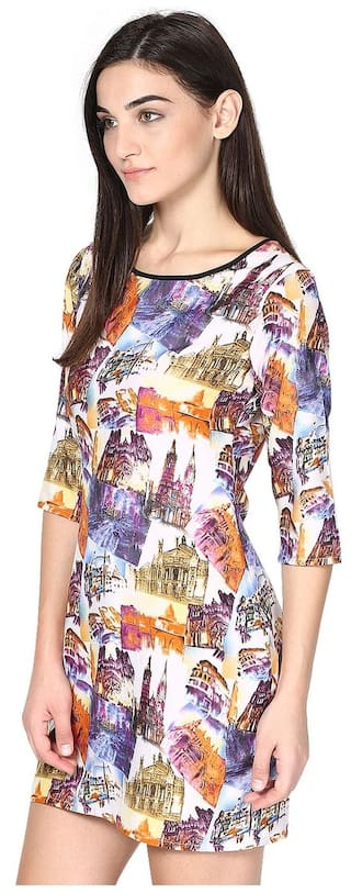 Purple 3 Dress Scene Sleeves 4 Polyster Short Print Digital wtnaEqOx1E