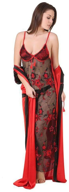 DILJEET Red Nighty with Robe