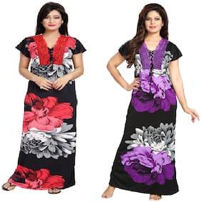 DILJEET Satin Self Design Nightwear Combo - Red & Purple