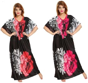 DILJEET Red & Pink Night Gown