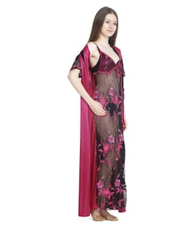 DILJEET Satin Nighty With Robe Embroidered Nightwear Purple - (Pack of 2 )