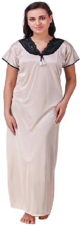 DILJEET Cream Night Gown