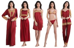 DILJEET Satin & Lace Robe And Lingerie Set Lace Nightwear Pink - (Pack of 7 )