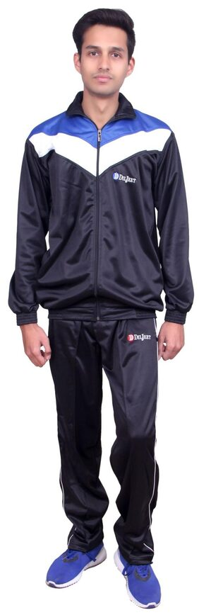 DILJEET Men Polyester Blend Track Suit - Black