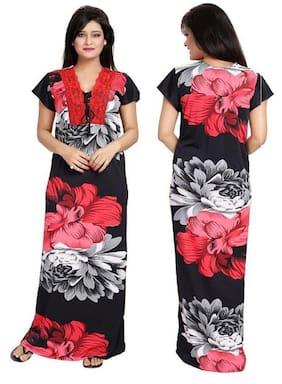 DILJEET Satin Night Gown Printed Nightwear Black - (Pack of 1 )