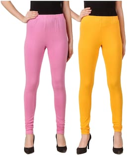 DINAMIC Cotton Solid Pink & Yellow Leggings