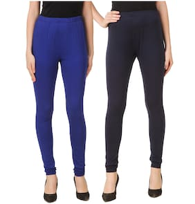 DINAMIC Cotton Solid Blue & Navy Blue Leggings
