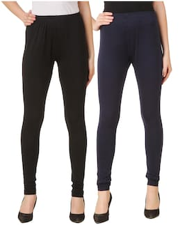DINAMIC Women Cotton Ankle Length Legging(Black;Navy Blue)