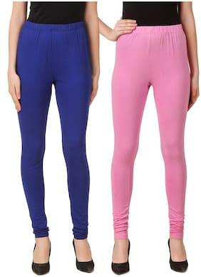 DINAMIC Women Cotton Ankle Length Legging(Blue;Pink)