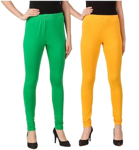 DINAMIC Women Cotton Ankle Length Legging(Green;Yellow)
