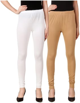 DINAMIC Women Cotton Ankle Length Legging(White;Beige)