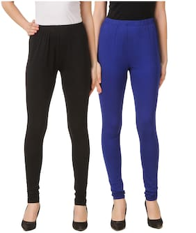 DINAMIC Women Cotton Ankle Length Legging(Black;Blue)