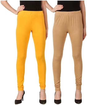 DINAMIC Women Cotton Ankle Length Legging(Yellow;Beige)