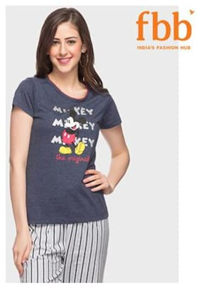Disney Women Printed Round neck T shirt - Blue