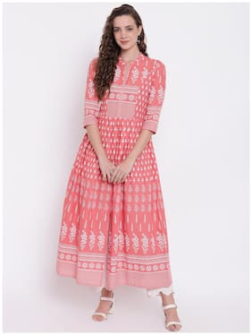 Divena  Women Cotton Floral Pink Kurta