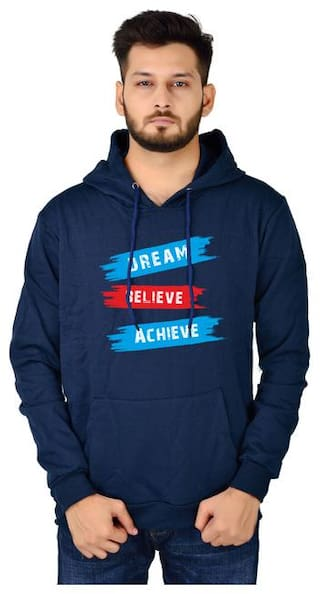 DIVRA CLOTHING Cotton Blend Navy Blue Printed Hoodie  For Men
