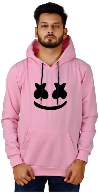 DIVRA CLOTHING Men Pink Hooded Hoodie