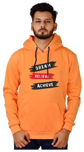 DIVRA CLOTHING Men Orange Hooded Hoodie