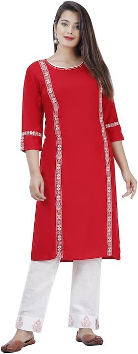 DIVYANSHI FASHIONS Viscose Rayon Embroidered Red Kurti Pants  For Women