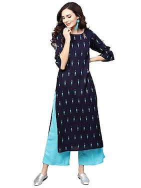 DIVYANSHI FASHIONS  Women Viscose Rayon Printed Blue Kurti  With Palazzo